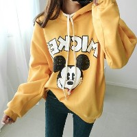 [Deming] Disney s three brilliant brushed Mickey Hooded T-shirt color