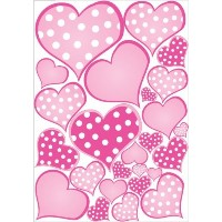 Pink Pastel Polka Dot Heart Wall Decals Stickers by Presto Wall Decals
