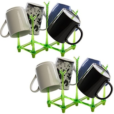 (Green) - Great Lakes Wholesale (2 Pack) Plastic Kitchen Dish Drying Rack Collapsible For Cups Mugs...