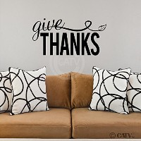Give Thanks with Leaf wall saying vinyl lettering home art decal quote sticker (11x22) by Wall...