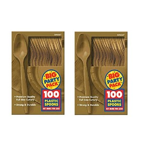 Amscan Big Party Pack 100Count Mid Weightプラスチックスプーン、ゴールド 200 spoons