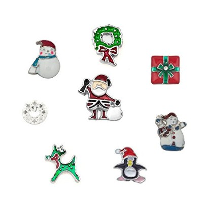 (Happy Christmas) - DemiJewelry 8 pcs Christmas Floating Charms For Glass Living Memory Lockets...