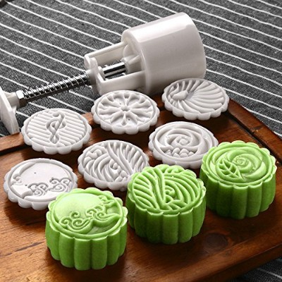 Moon Cake Mould with 6 Stamps - Mid Autumn Festival DIY Decoration Cookie Press 50g Cake Press