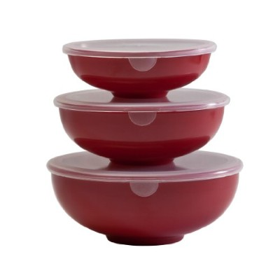 (Red) - Nesting Prep Bowl Set with Lids, red