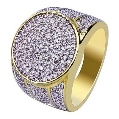 Jinao 18 K Gold Plated Iced Out模造ダイヤモンドMicropave CZメンズヒップホップBlingリング