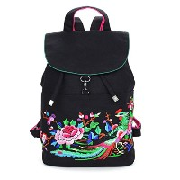 Yu Chuang Xin レトロ刺しゅうハンドバッグナショナルウィンドバッグEmbroideryBackpackキャンバスバッグカジュアルバックパック14インチコンピュータバックパック