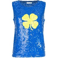 P.A.R.O.S.H. sequined clover tank top - ブルー