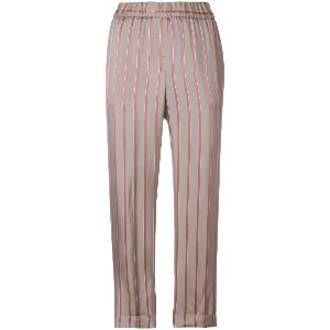 Peserico striped cropped trousers - ヌード&ナチュラル
