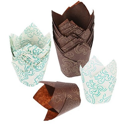 Mtlee Tulip Baking Cups Tulip Cupcake Liners Paper Muffin Cups for Baking, Brown and White, 100...