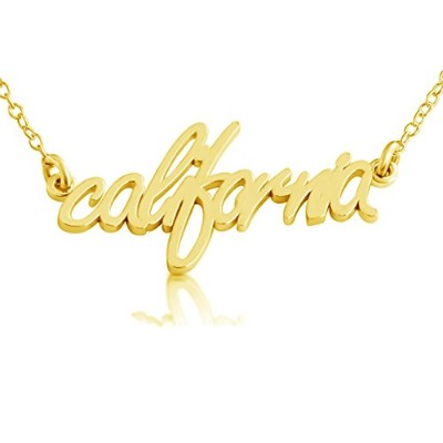 azaggi Proud to be americanhandcrafted California State名前ペンダントネックレス