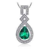JewelryPalace 5.05ct 人工 ナノ ロシア エメラルド ネックレス ペンダント スターリング シルバー925 チェーン 45cm
