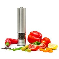Best Pepper Grinderまたは塩グラインダーミル – プレミアムステンレススチール片手自動電池式Spice Shaker – adjustable- with LEDライトat下部