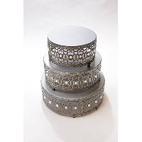 Opulent Treasures Moroccan Cake Stands Set of 3 (Silver) by Opulent Treasures