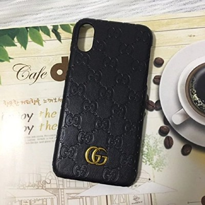 iphone X -- Luxury PU Leather Style Case Cover for Apple iPhone (blackGG)