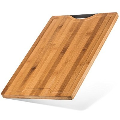 Organic Bamboo Cutting Board - Thick Strong Bamboo w/Drip Groove (XL - 46cm x 30cm)