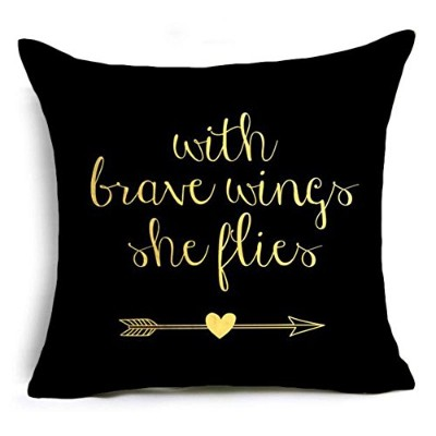 (With Brave Wings She Flies) - Aremazing Inspirational Quotes Super Soft Throw Pillow Case Cushion...