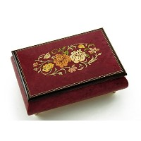 Remarkable 30 NoteレッドワインFloral Theme Wood Inlay Musicalジュエリーボックス 104. Scarborough Fair MBA62FLORALRW...