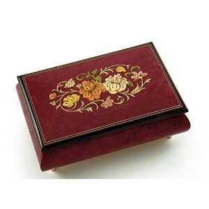 Remarkable 30NoteレッドワインFloral Theme Wood Inlay Musicalジュエリーボックス 104. Scarborough Fair MBA62FLORALRW...