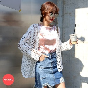 送料 0円★PPGIRL_B613 Net cardigan / see thru knit / knit cardigan / loose fit knit / outer / robe