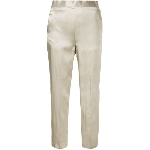 H Beauty & Youth satin tapered trousers - メタリック