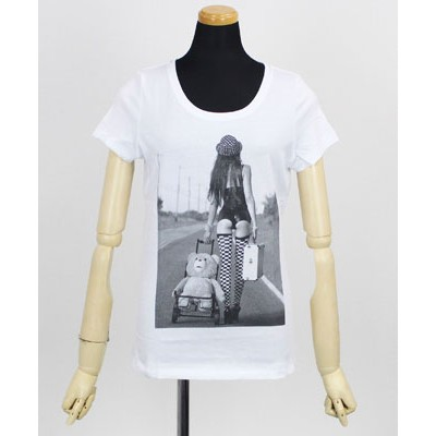 NO COMMENT PARIS(ノーコメントパリ) レディース プリントTシャツ Ted in Buggy [NC-TL.NCNEW15]WHITE