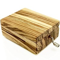 Wingostore 30弁手回しオルゴール音楽ボックスMovement with銅製ギアDIY Make Your音楽ツールキット (ZebraWood製のボックス+銅製ギア)