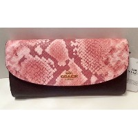 [コーチ] COACH 財布 (長財布) F25939 IMFCG ゴールド/オックスブロッド Leather Snake Mix Slim Envelope Wallet Gold Oxblood...