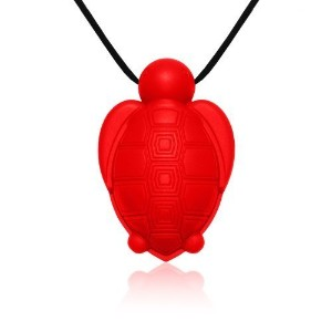 Siliconies Turtle Pendant - Silicone Necklace (Teething/Nursing/Sensory)(Red) by Family Bedrock ...
