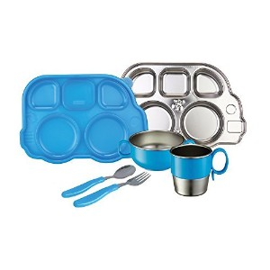 Innobaby Din Smart Stainless Mealtime Set, Blue by Innobaby [並行輸入品]