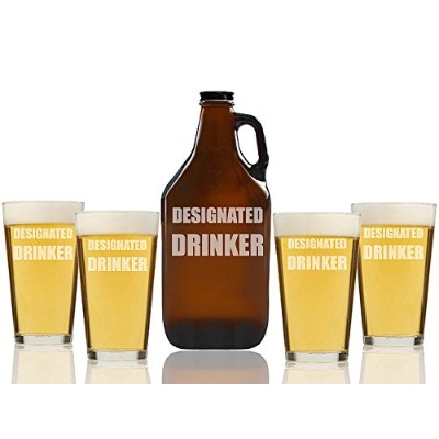 Designated DrinkerビールAmber Growler and Pint Glasses ( Set of 5 )