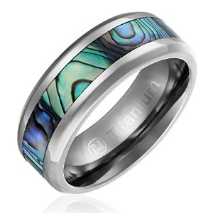 8 mm快適フィットチタン結婚指輪|婚約リングwith Abalone Shell Inlay |斜めエッジ