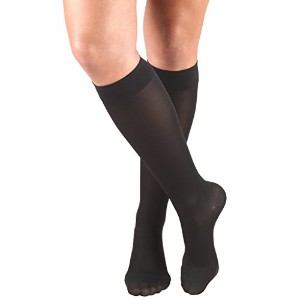 Truform 0363, Women's Compression Stockings, Opaque, Knee High, Closed Toe, 20-30 mmHg, Black, X...