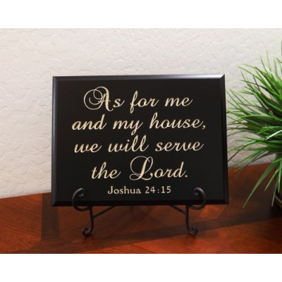 """As for Me and My House、We Will Serve the Lord。Joshua 24: 15Sign by Timber Creekデザイン 12"""" x 9"""" ブラック"""