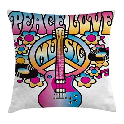 (46cm W By 46cm L, Multi 1) - Groovy Decor Throw Pillow Cushion Cover by Ambesonne, Peace Love...
