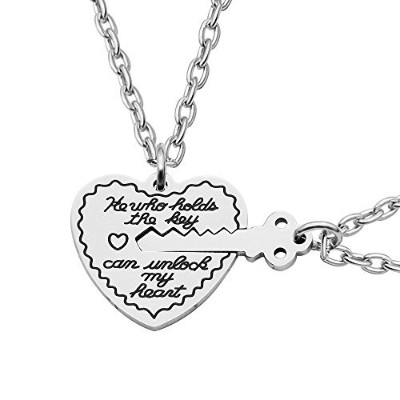 caromayペンダントネックレスHe Who Holds the Key Can Unlock My HeartチャームハートLoveバレンタインギフト