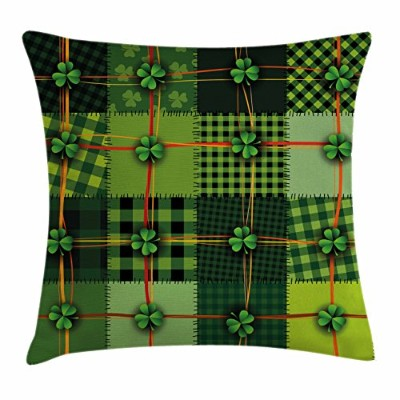 (46cm W By 46cm L, Multi 1) - Irish Throw Pillow Cushion Cover by Ambesonne, Patchwork Style St....