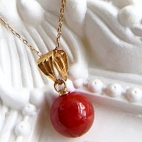 One&Only Jewellery 【鑑別書付】 天然 珊瑚 K18 一粒 ペンダント ネックレス 3月誕生石
