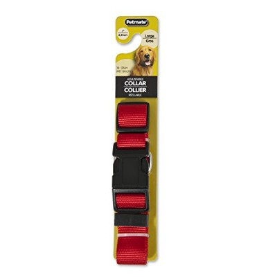 "Aspen Adjustable Pet Dog Collar Quick Snap Buckle Strong Nylon Red 1/16"" x 16"""