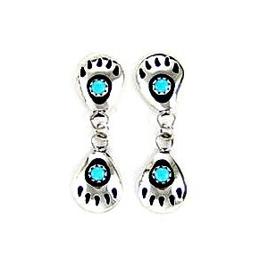 By NavajoアーティストGaynell Parker :美しい。sterling-silver &ターコイズBear Paw dangle-earrings
