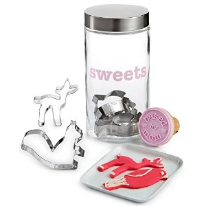 Celebrate Shop ' Sweets 'ガラスCookie Jar Set with 5ウッドランドCookie Cutters & 1クッキースタンプ