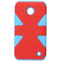 HR Wireless Nokia Lumia 635/630 Dynamic Slim Hybrid Cover Case - Retail Packaging - Red/Sky Blue by...