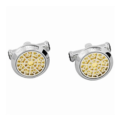 Montblanc 114775Cuff Links Round with gold-leaf Inlay
