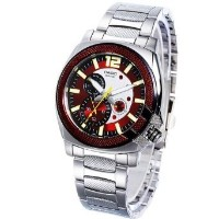 Casio Men's MTP1316D-4AV Silver Stainless-Steel Quartz Watch with Red Dial [並行輸入品]