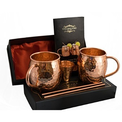 Vita Migliore Handcrafted Copper Cups 100% Pure Solid Copper Moscow Mule Mugs Hammered Design,...