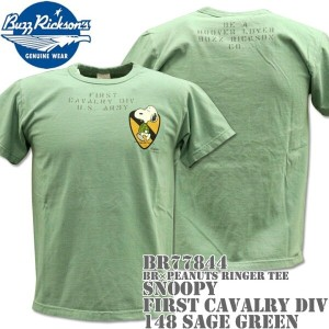 BUZZ RICKSON'S(バズリクソンズ)スヌーピーコラボTシャツ BR×PEANUTS RINGER TEE『SNOOPY FIRST CAVALRY DIV』BR77844-148 Sage...