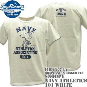 BUZZ RICKSON'S(バズリクソンズ)スヌーピーコラボTシャツ BR×PEANUTS RINGER TEE『SNOOPY NAVY ATHLETICS ASSOCIATION』BR77845...
