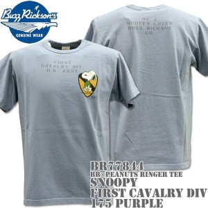 BUZZ RICKSON'S(バズリクソンズ)スヌーピーコラボTシャツ BR×PEANUTS RINGER TEE『SNOOPY FIRST CAVALRY DIV』BR77844-175...