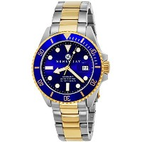 "Henry Jay Mens 23K Gold Plated Two Tone Stainless Steel ""Specialty Aquamaster"" Professional Dive..."