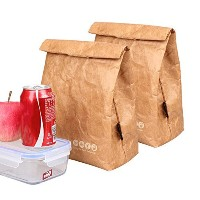 """hangnuo Insulatedランチバッグブラウン用紙Large Reusable Lunch Sack–10"""" x 8"""" x 4.3"""" 2 Pack ブラウン FHB108*2"""