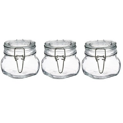Bormioli Rocco Fido Clear Glass Jar with 85 mm Gasket,0.5 Litre (Pack of 3)